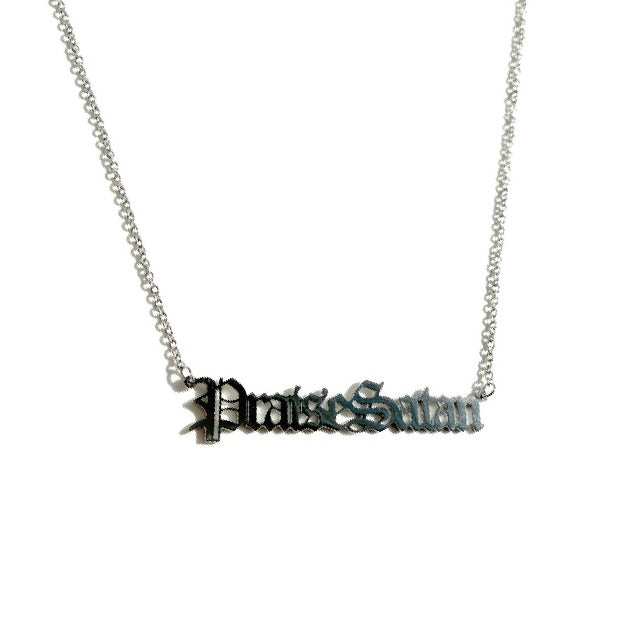 Image of Praise Satan Stainless Steel Script Necklace