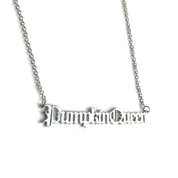 Image of Pumpkin Queen Stainless Steel Script Necklace