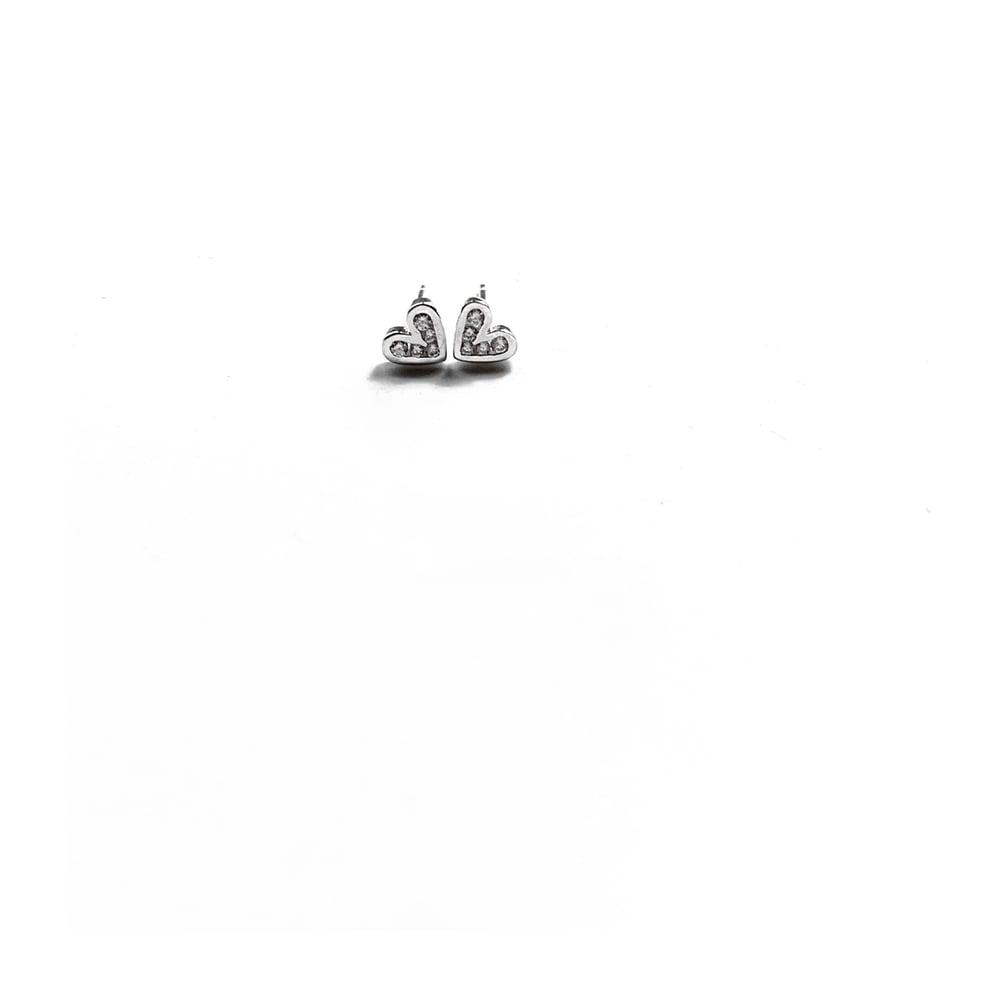 Image of Sterling Silver Diamanté Heart Stud Earrings