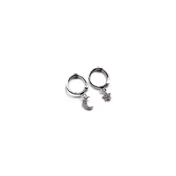 Image of Sterling Silver Star & Moon Mini Hoop Earrings