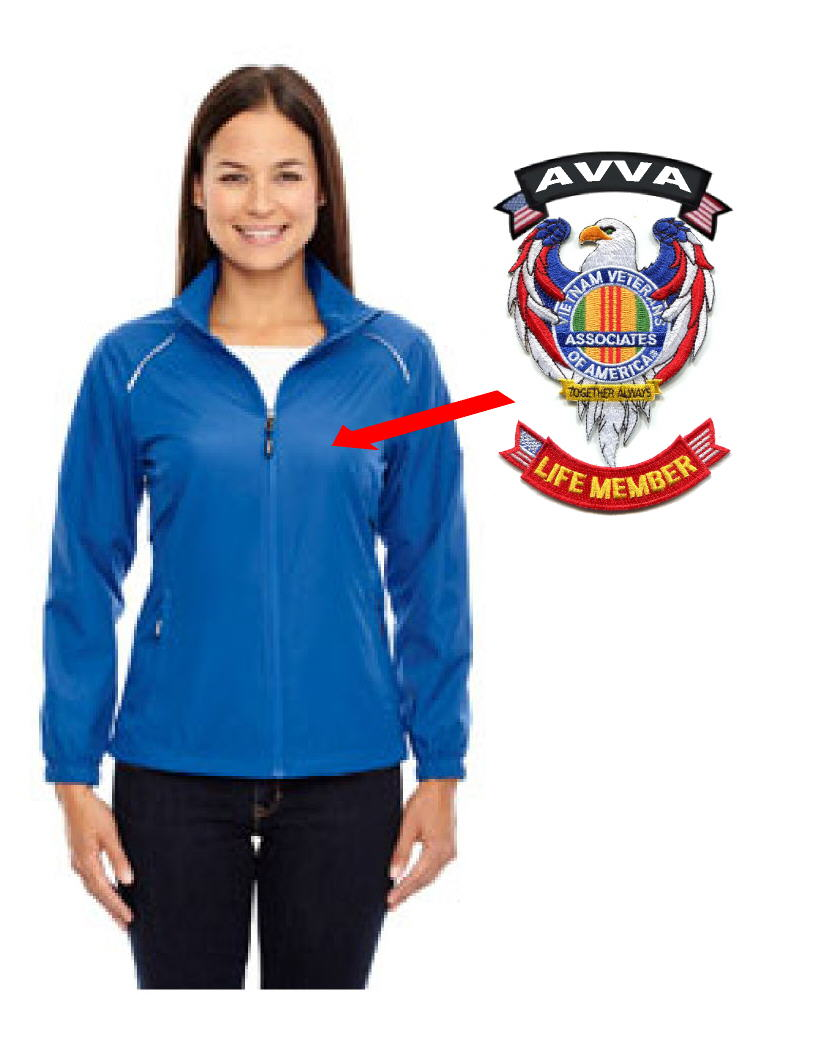 Image of Ladies AVVA Jacket with AVVA Eagle patch, AVVA Tab, Life Member Tab