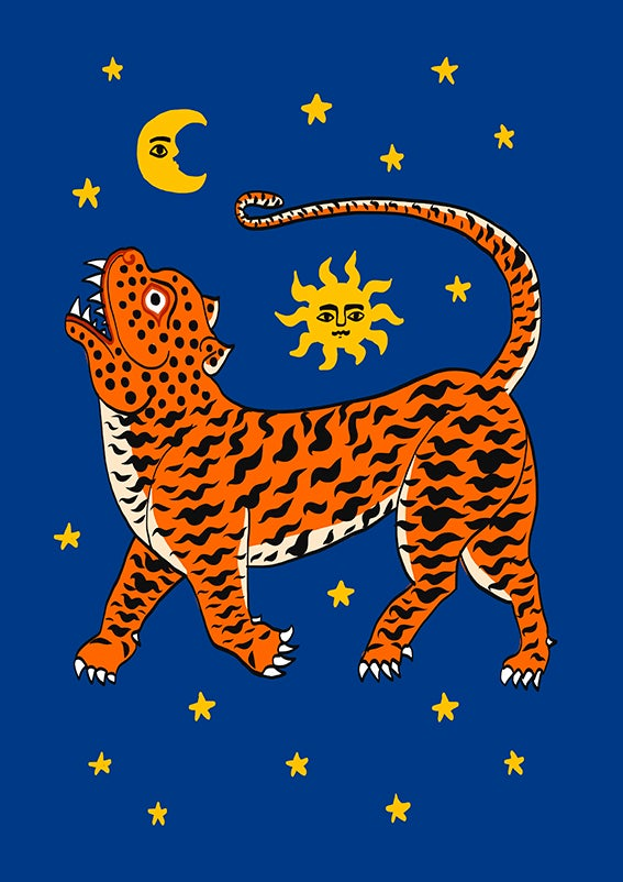 Image of TIGER TEMPLE STARS blue or pink - A3 print