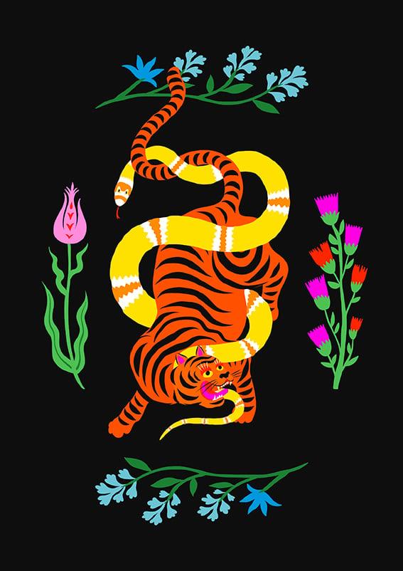 Image of TIGER & SNAKE BATTLE FLOWERS - A3 print