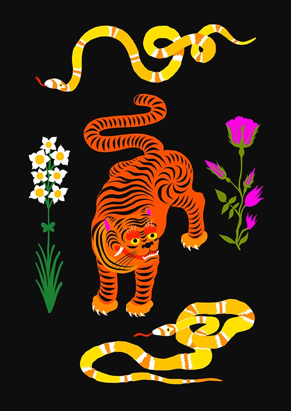 Image of TIGER & SNAKES FLOWERS - A3 print