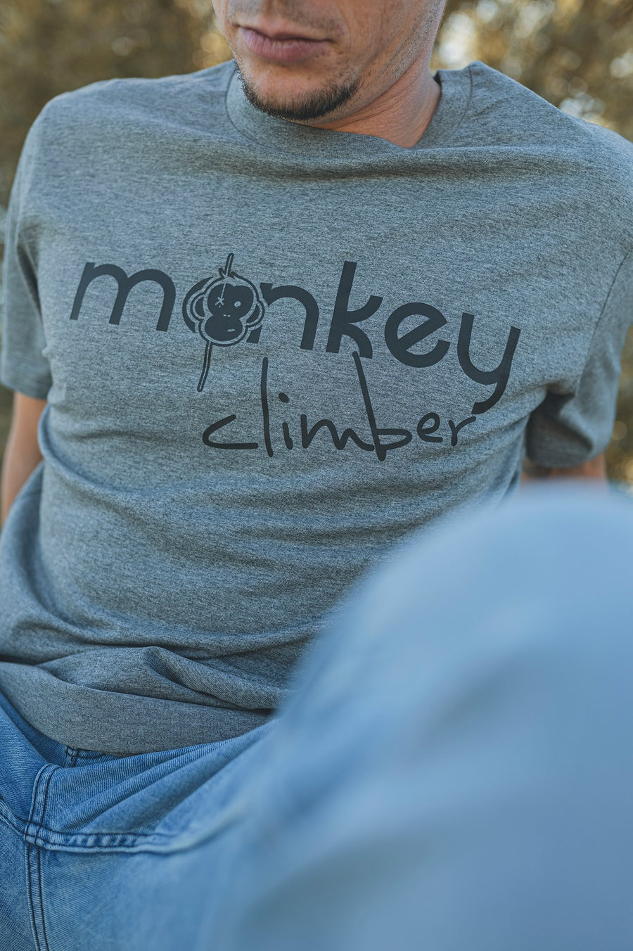 Image of Monkey Climber Front Cover shirt I Mid Heather Grey
