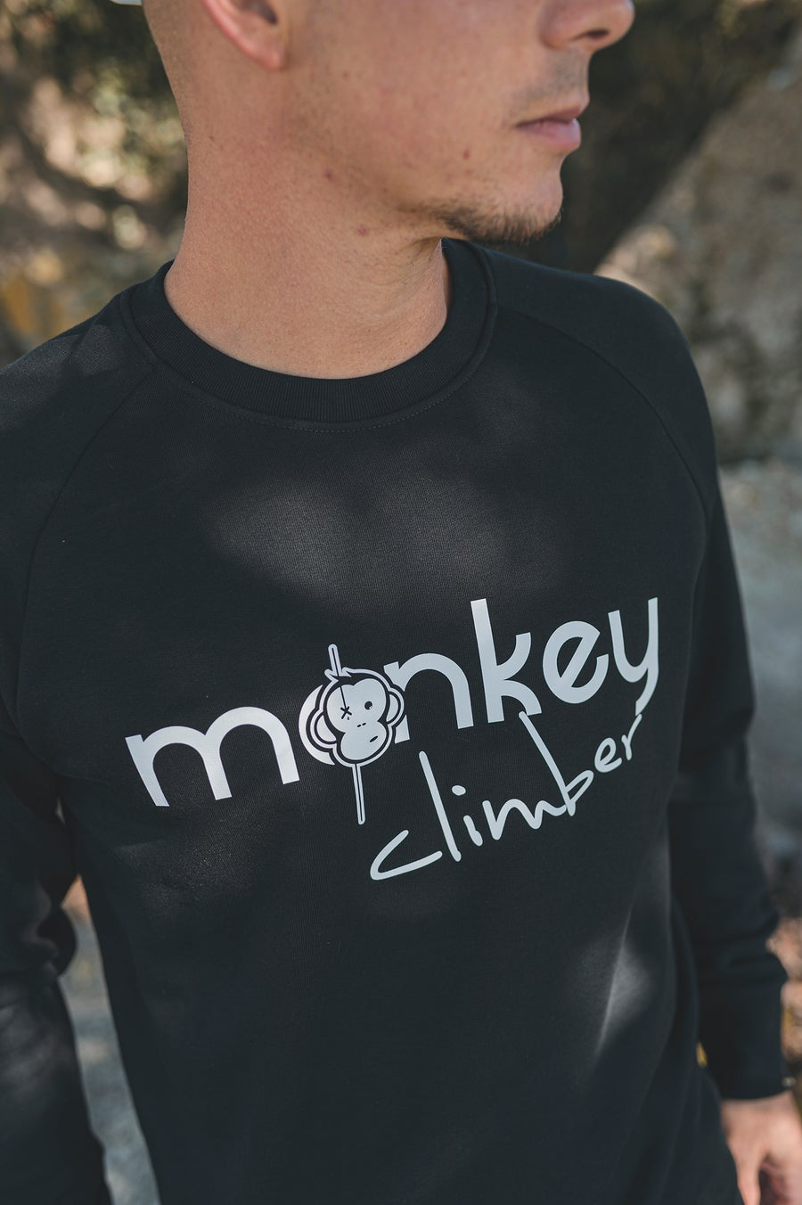 Image of Monkey Climber Front Cover crewneck I Black