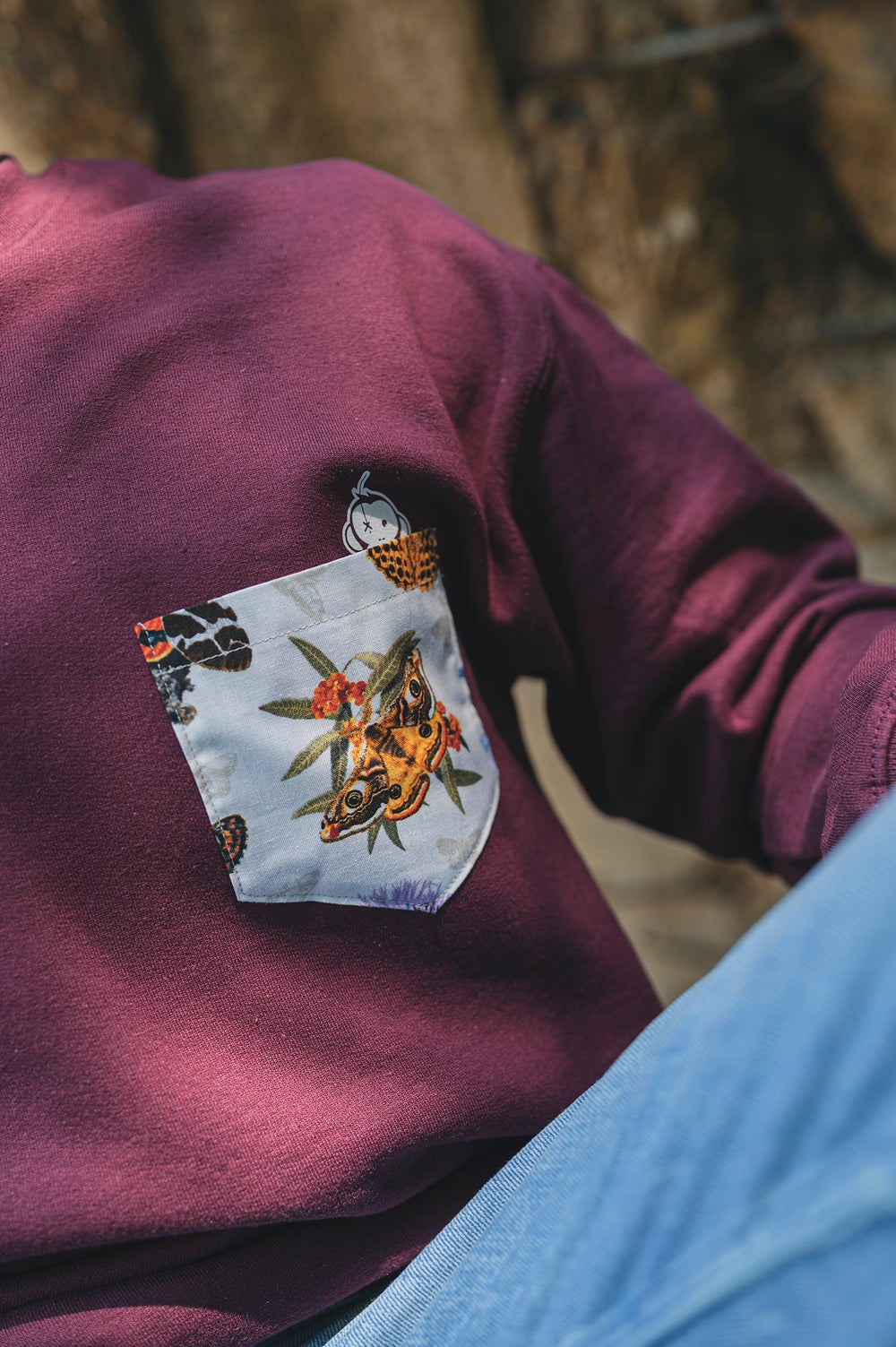 Image of Monkey Climber Moths & Butterflies pocket crew I Burgundy (& other colour options)