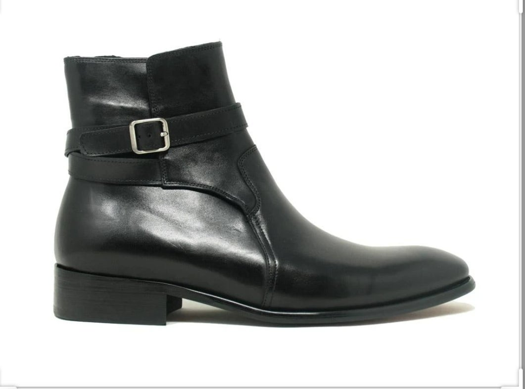 Image of CARRUCCI STRAP BUCKLE LEATHER BOOTS