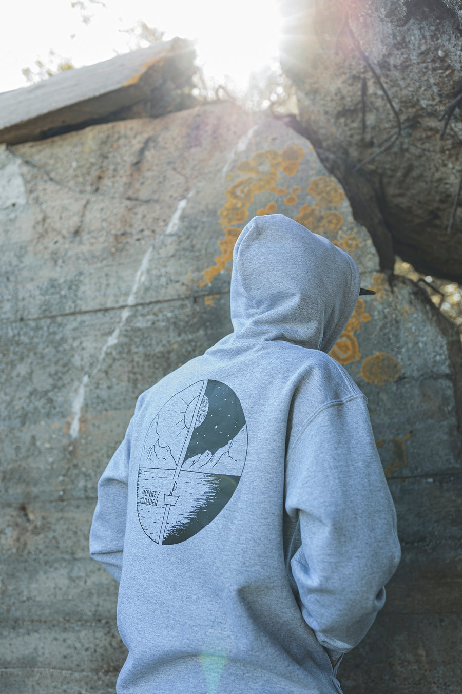 Image of Monkey Climber Day & Night hoodie I Heather Grey