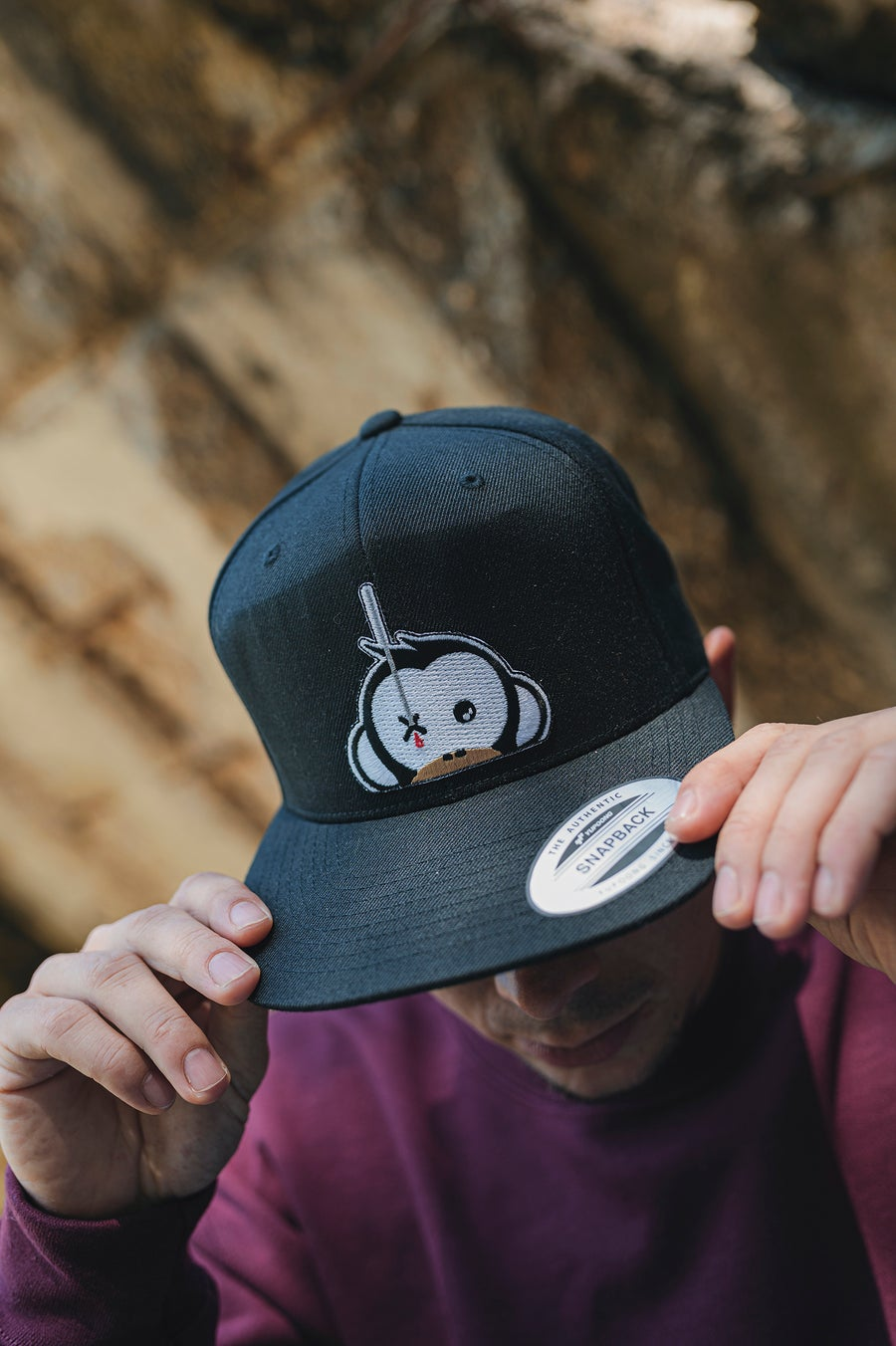 Image of Monkey Climber Logo Patch Snapback I Black