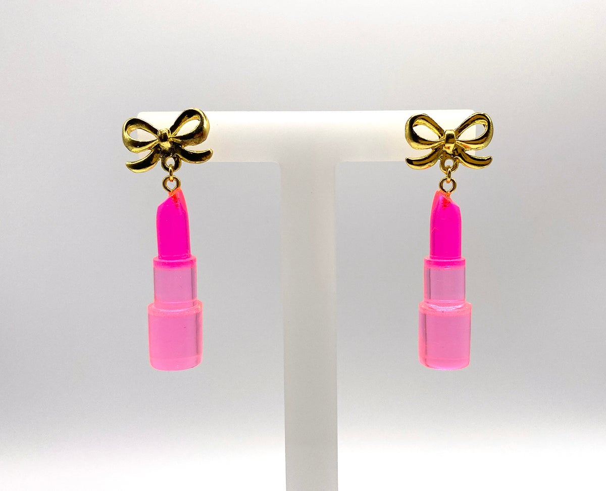 Image of Pink Crystal Lippy Statement earrings