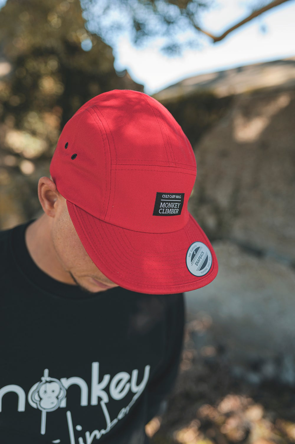 Image of Monkey Climber Cult 5 panel cap I Bright Red