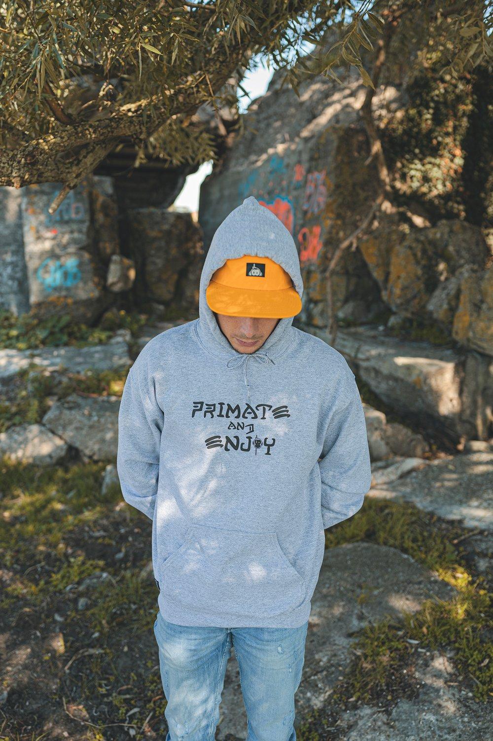 Image of Monkey Climber Primate & Enjoy hoodie I Heather Grey