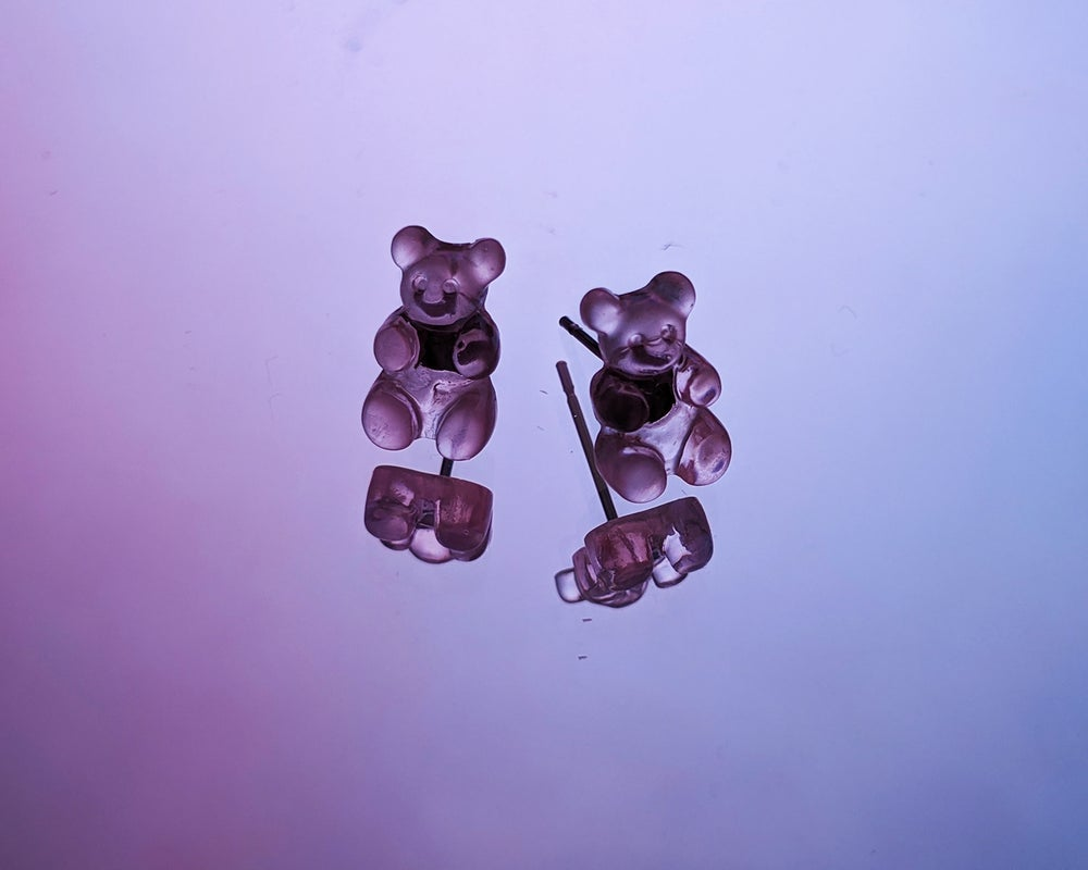 Image of Gummy Bear Silver Plated Stud Earrings.