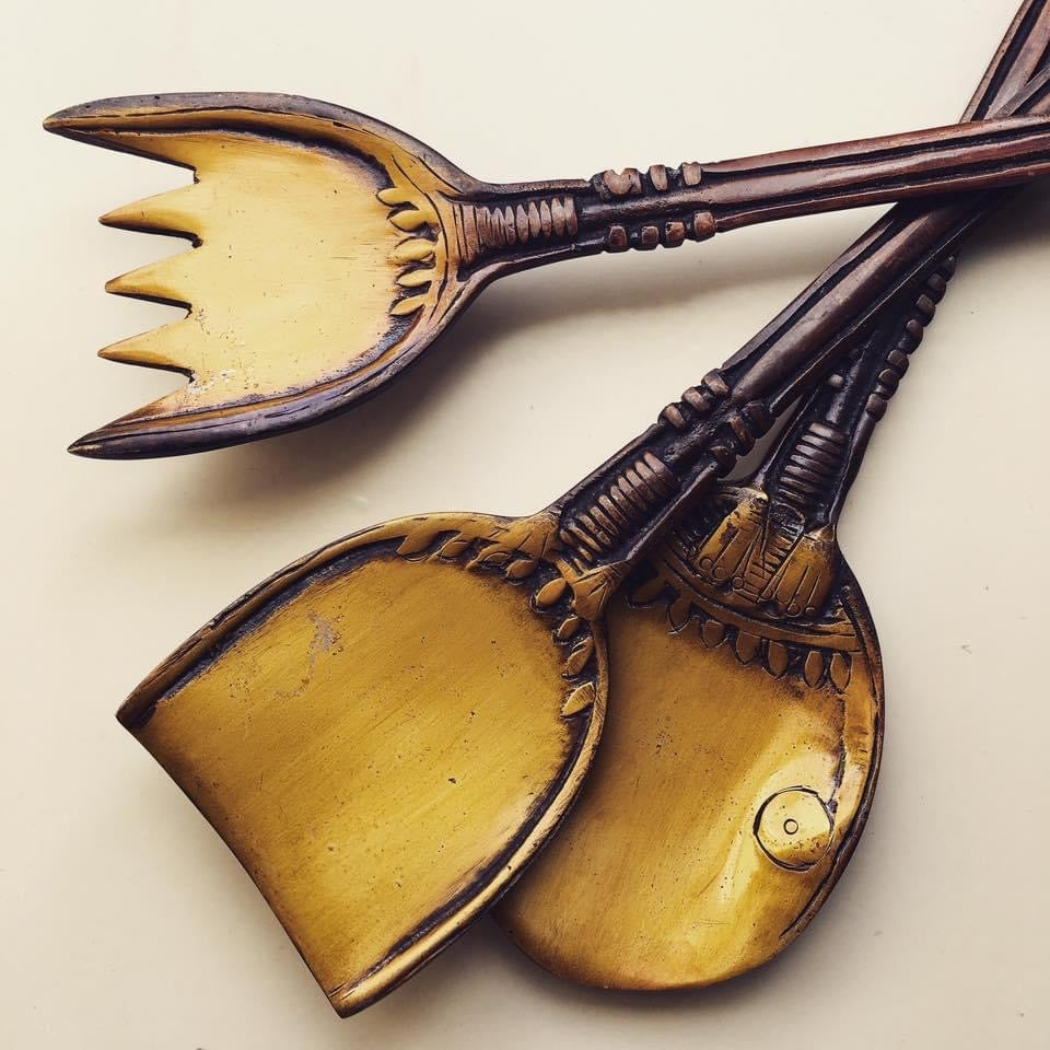 Image of Set of three tribal brass spoons