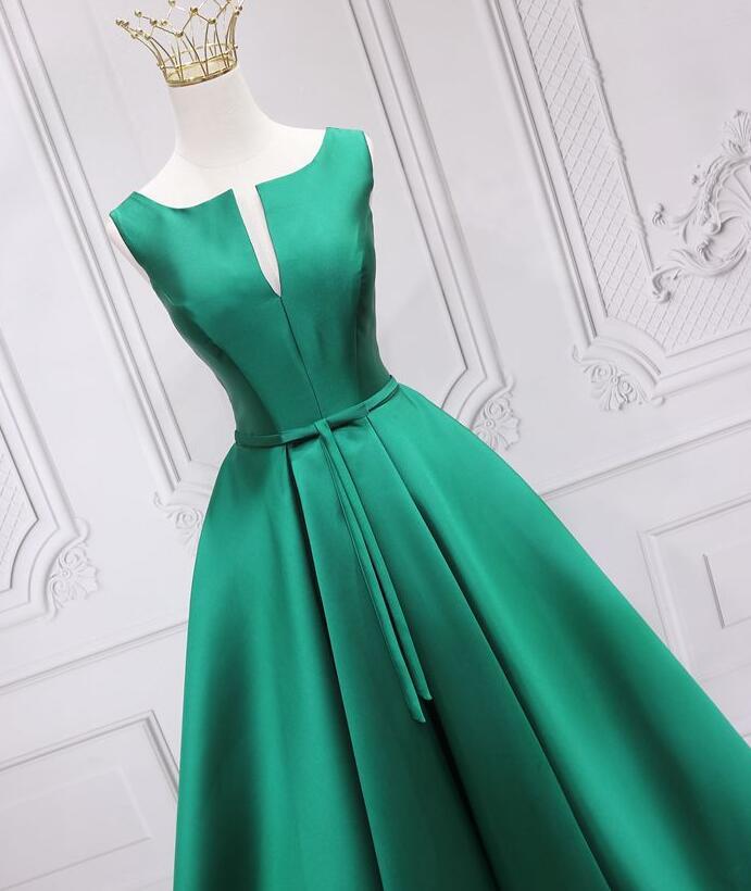Elegant Satin Long Green Floor Length Evening Gown, Green Long Prom Dress