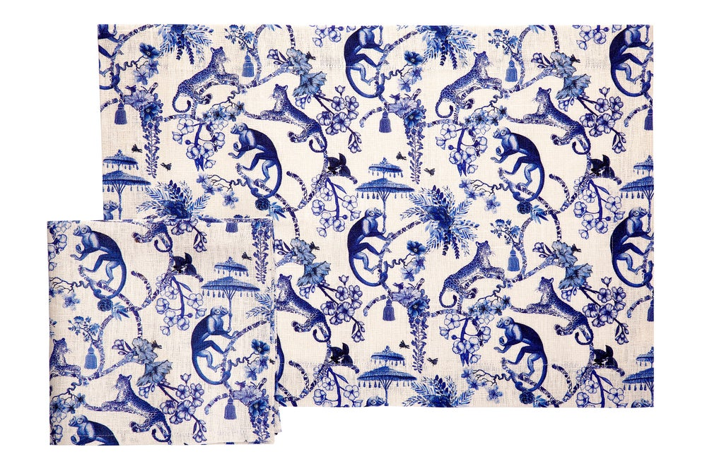 Image of Set 1 tovaglietta americana + 1 tovagliolo Blu Chinoiserie - Blue Chinoiserie set of 1 placemat + 1