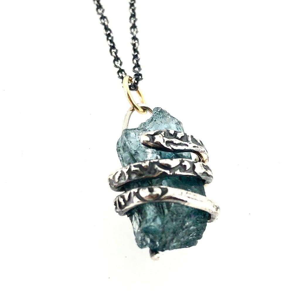 Image of raw aquamarine necklace