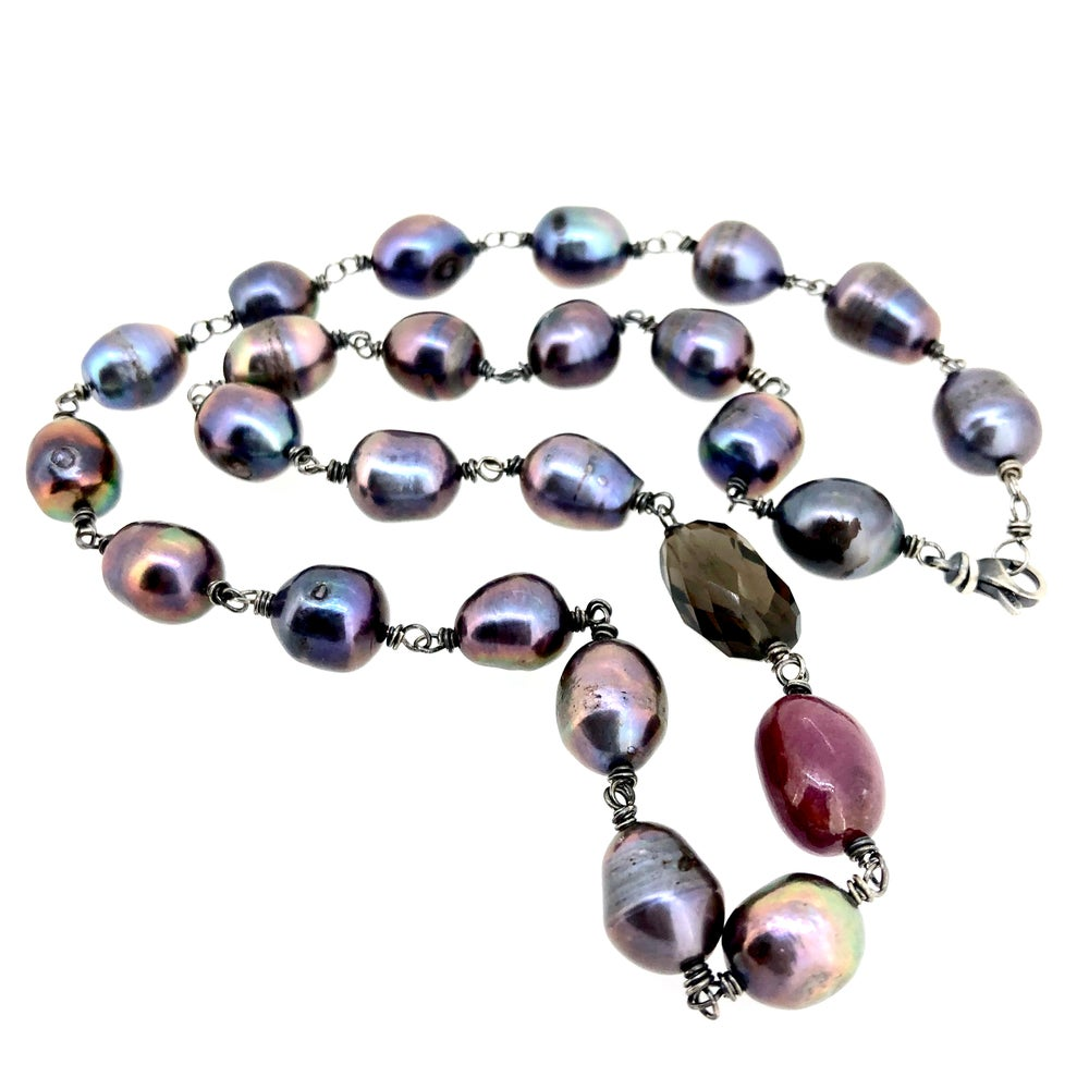Image of peacock pearl wire wrapped necklace