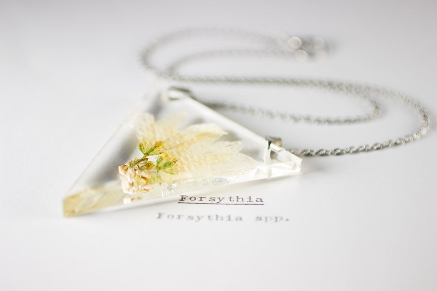 Image of Forsythia - Triangular Pressed Pendant #3