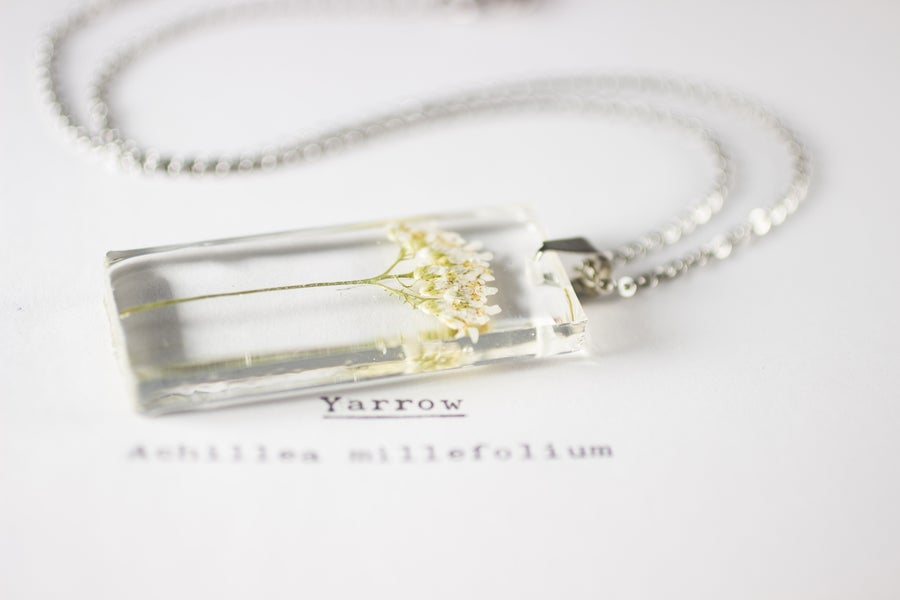 Image of Yarrow (Achillea millefolium) - Small Herbarium Pendant #1
