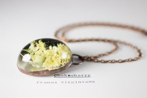 Image of Chokecherry (Prunus virginiana) - Copper Plated Necklace #1