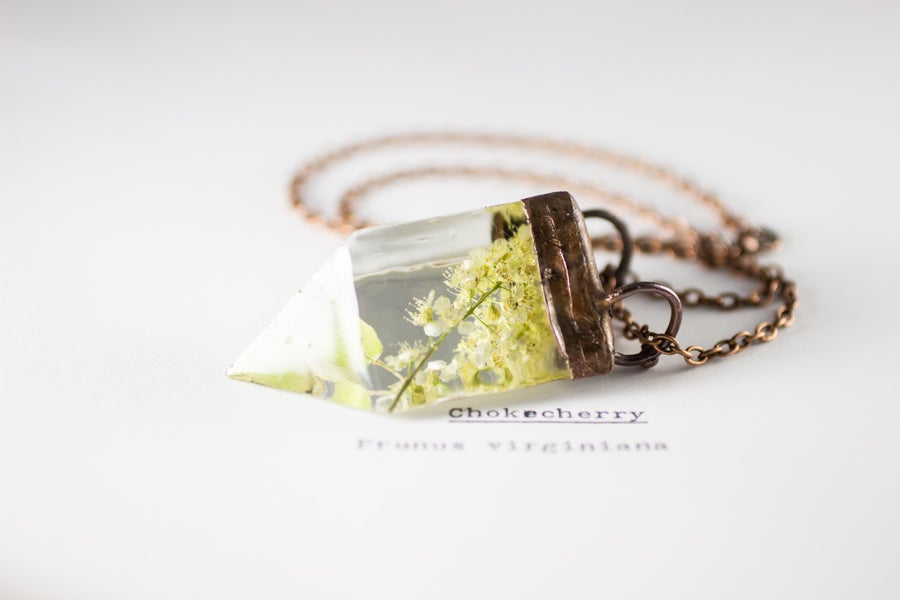 Image of Chokecherry (Prunus virginiana) - Small Copper Prism Necklace #1