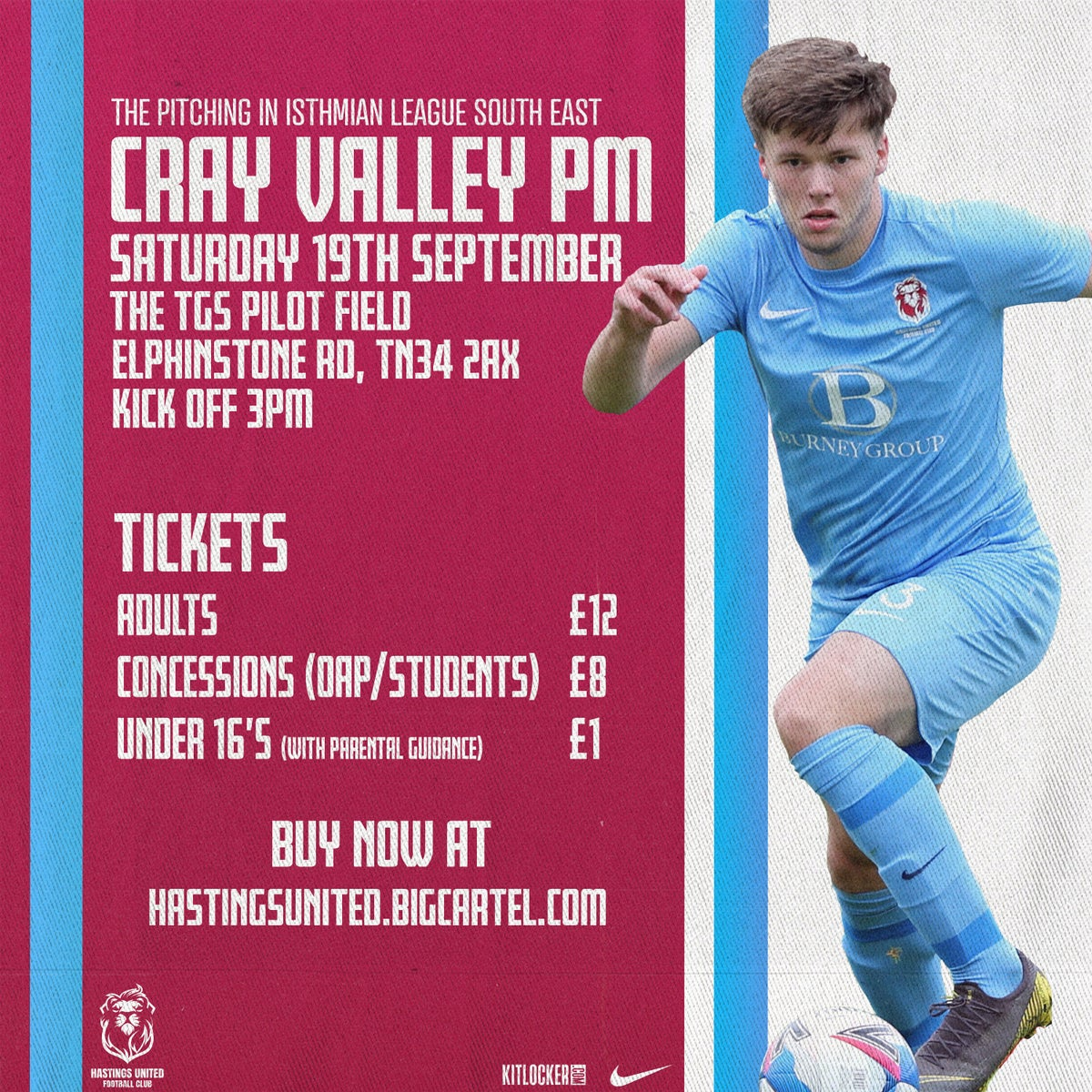 19th Sept   Cray Valley PM (Isthmian League)