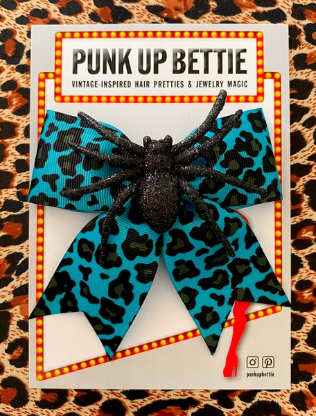 Image of Psycho Sparkly Spider Leopard Hair Bow - Turquoise Tantrum