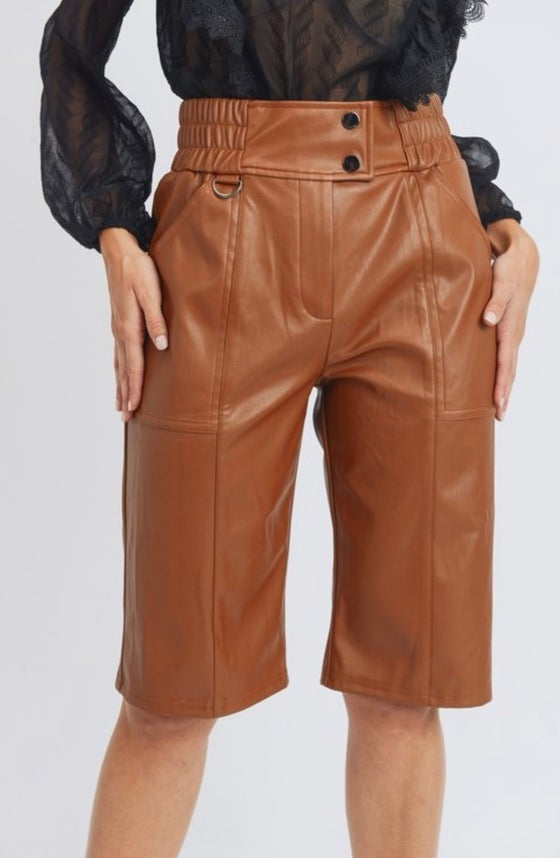 Image of Leather Bermuda Shorts (tan)