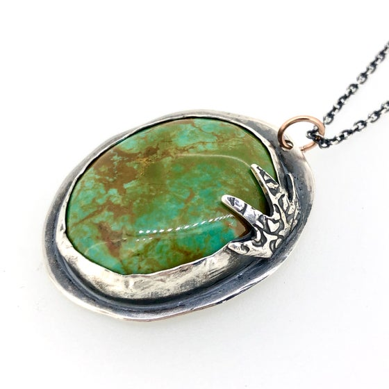 Image of raven claw turquoise necklace