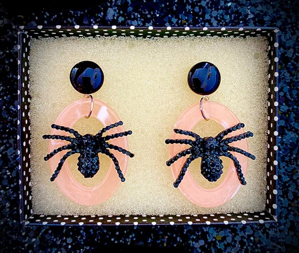 Image of Itsy Witchy Spider Earrings - Petrified Pink