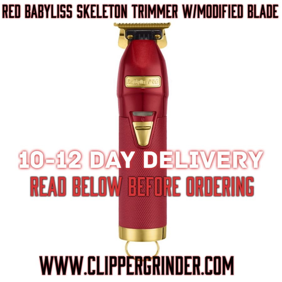 Image of (10-12 Day Delivery/Expedited) Limited Edition Red Babyliss Skeleton Trimmer W/Modified Blade
