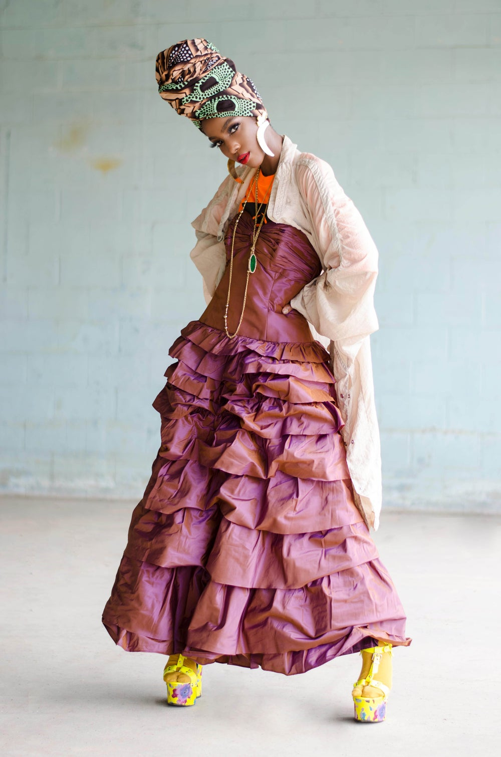 Image of Vintage Rock & Rag Doll Mauve Haze Ruffle Tiered Dress