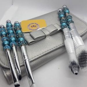 Beaded Makeup Brush Set - Blue