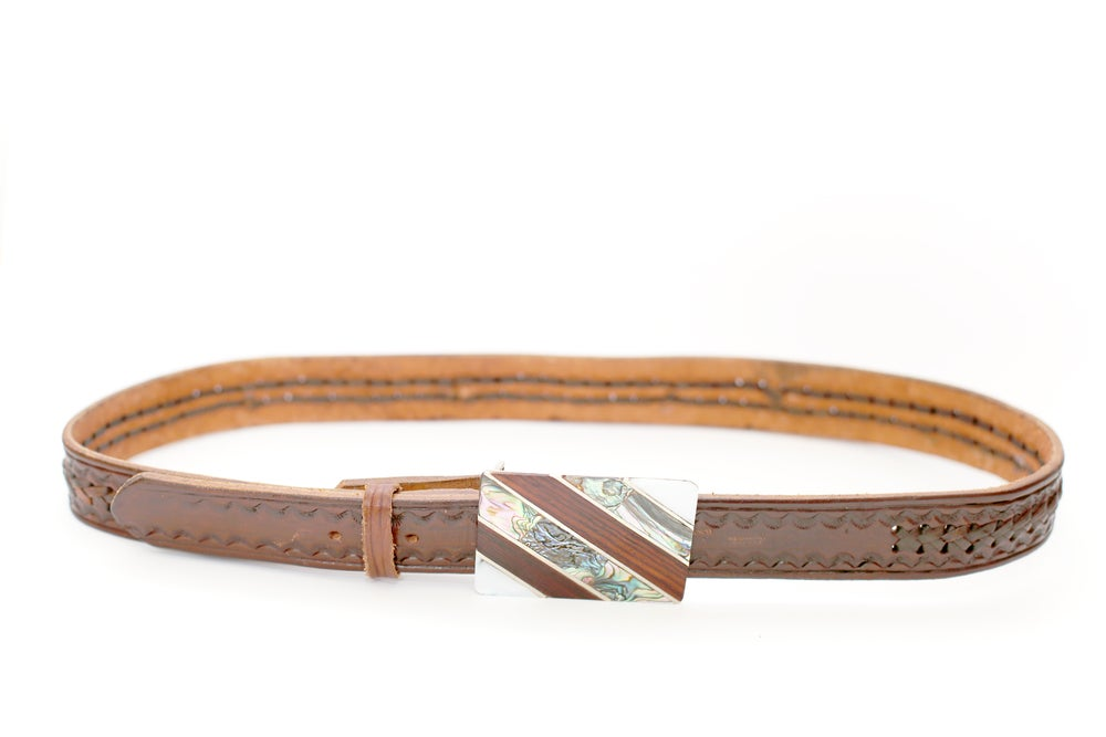 Vintage Leather Belt + Mother of Pearl Inlay Buckle