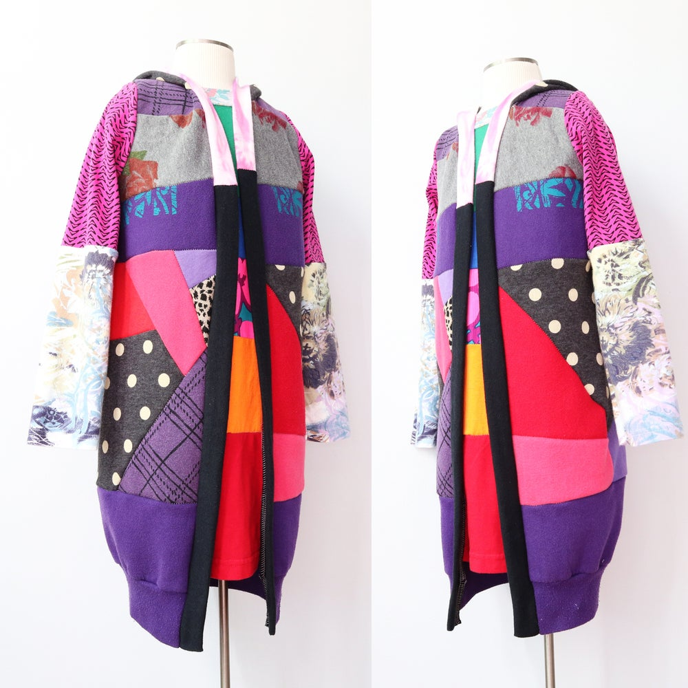 Image of purple magenta mix PATCHWORK 6/7 SWEATSHIRT COZY CARDIGAN ROBE HOODED HOODIE COURTNEYCOURTNEY