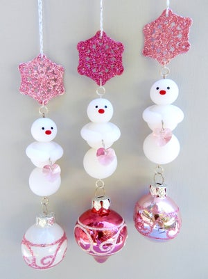 Image of New 2020 Jewel Tone Tri-Ornaments & Pink Snowman Tri- Ornaments