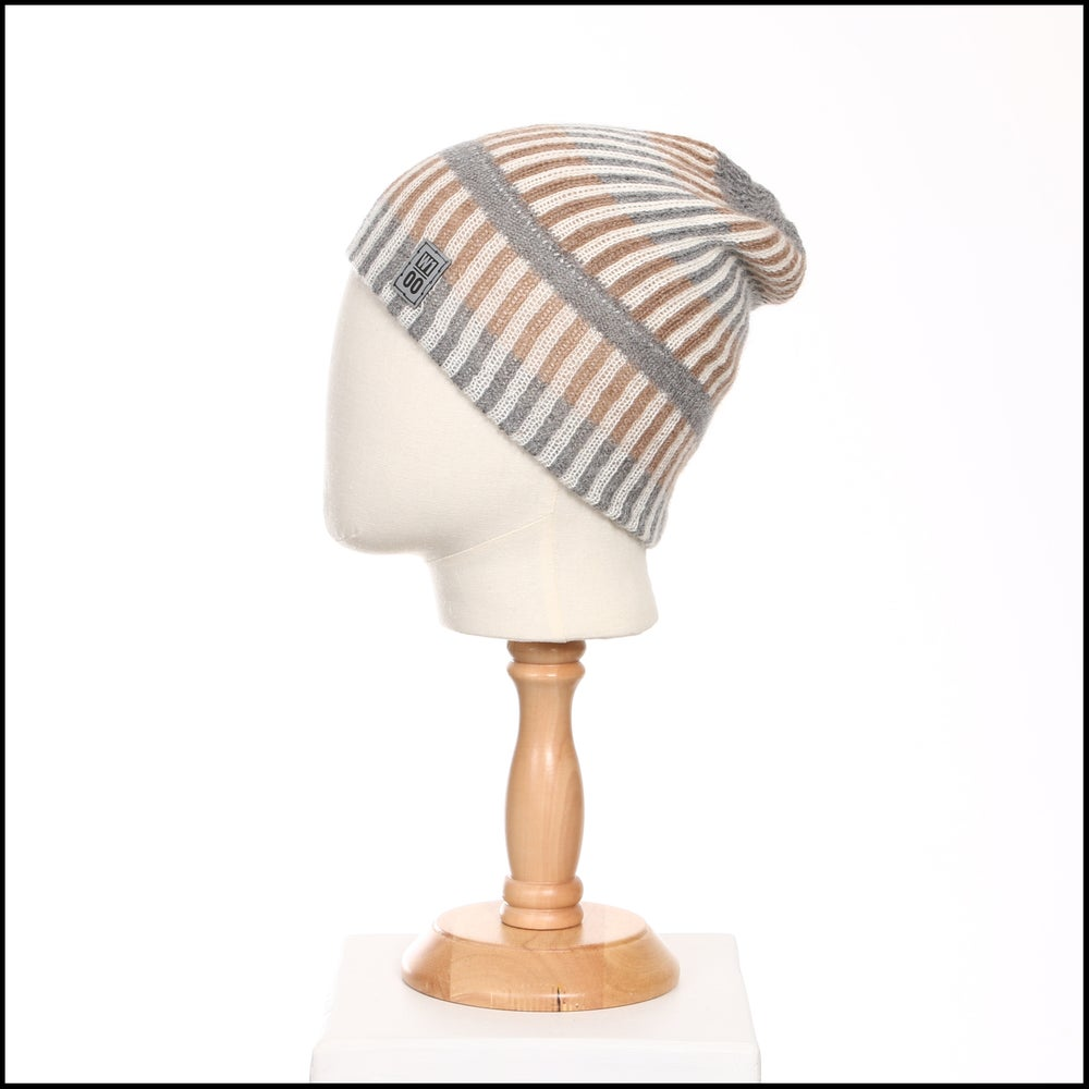 Image of Double Stripes Toque (white, fawn,grey alpaca) - 100 Mile Wardrobe Series