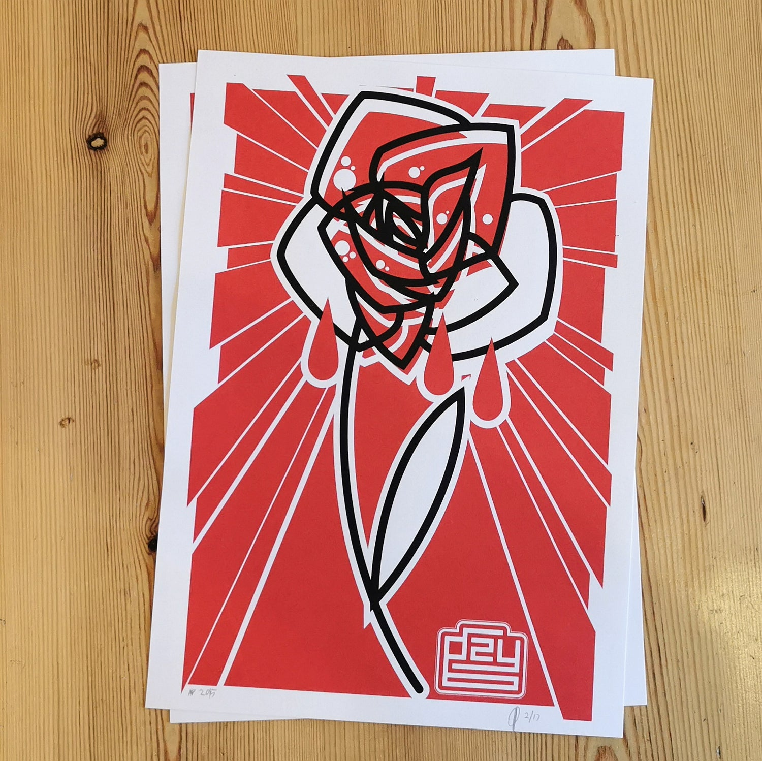 Gzy Ex Silesia - abstract rose - screen print LAST TWO! LOW NUMBERS!