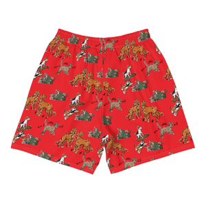 All-Over Print Athleisure Shorts-RED CLASSIC