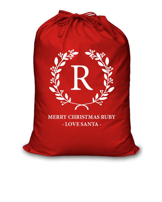 Image of Personalised Christmas Santa Sack - Initial Wreath