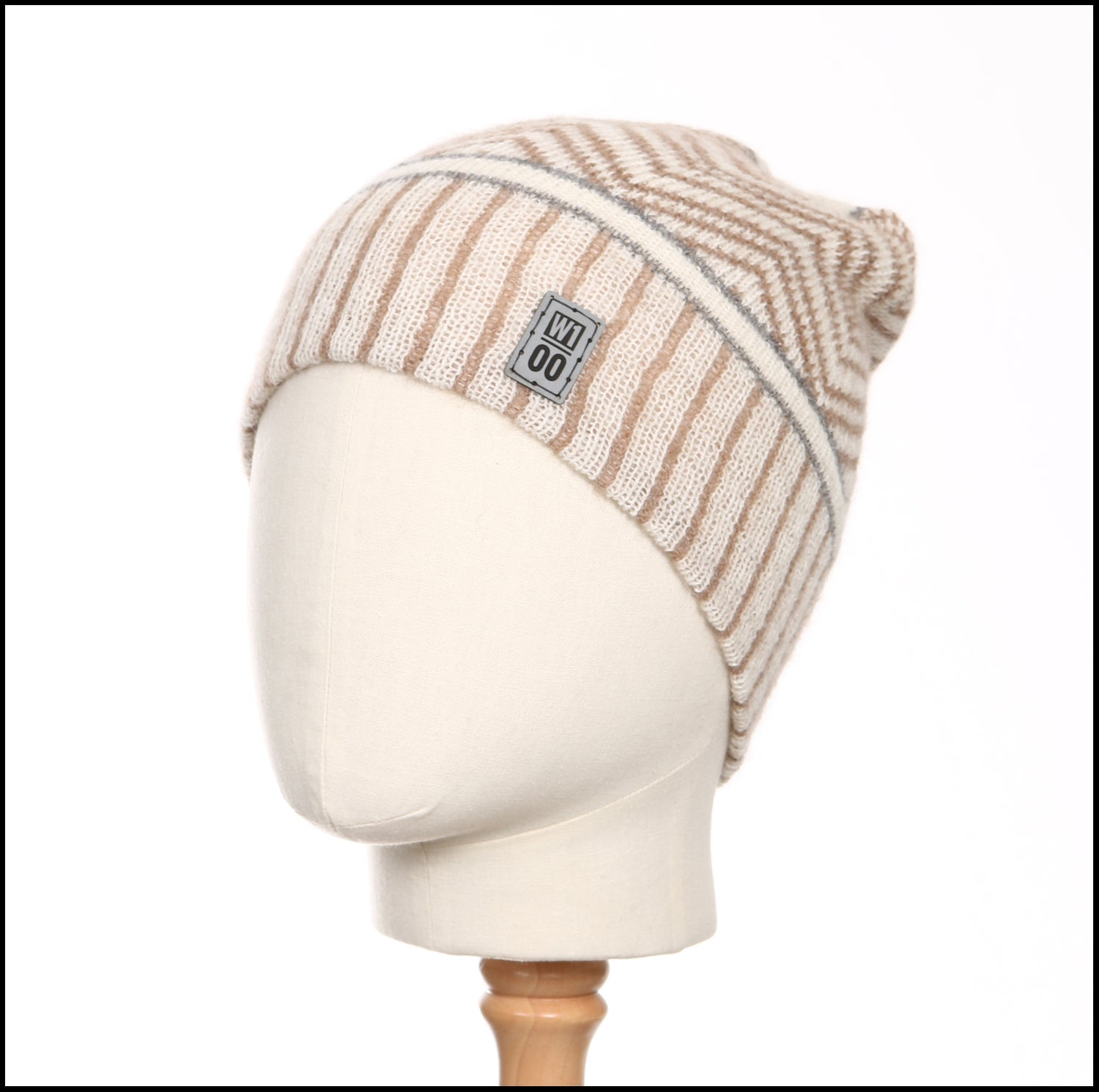 Image of Echoing Peaks and Stripes Toque (white, fawn, grey alpaca) - 100 Mile Wardrobe Series