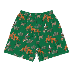 All-Over Print Athleisure Shorts-GREEN CLASSIC