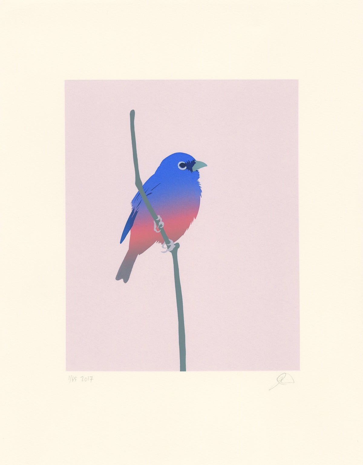 Image of Rose-bellied Bunting Screen print