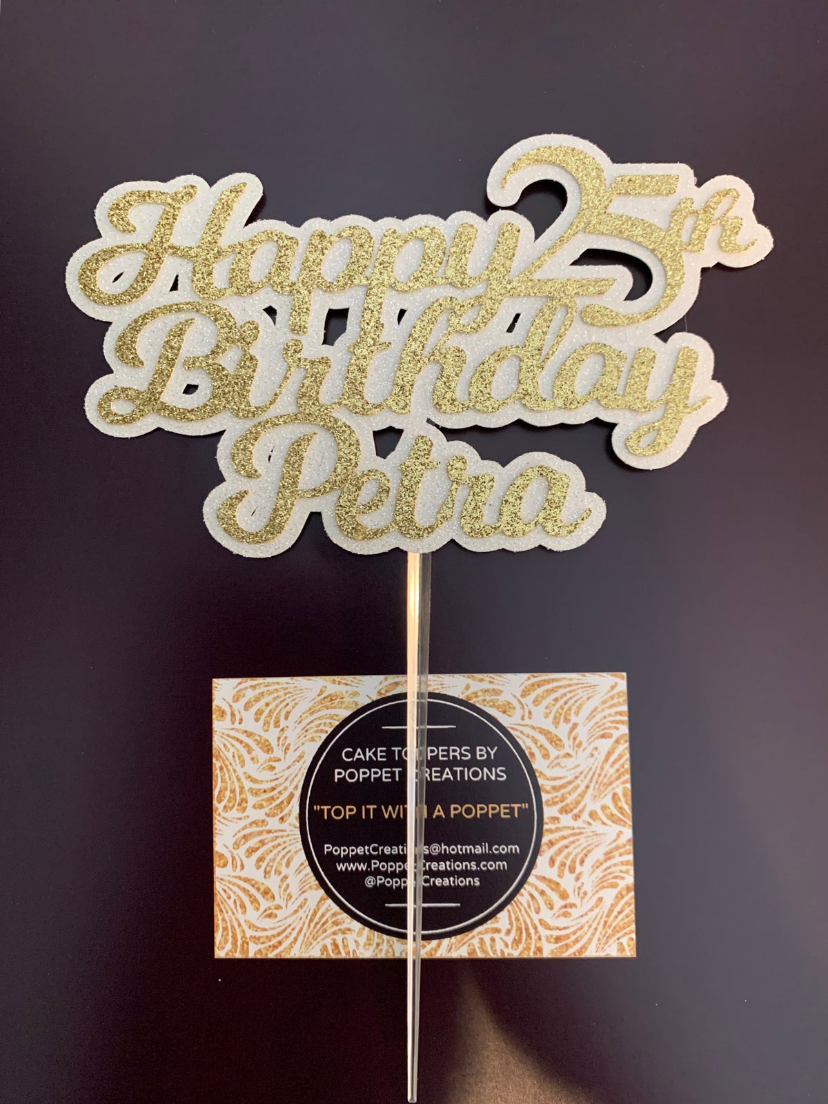 Image of Happy (age) Birthday (name) in 2 colours