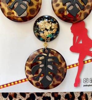Image of Miss Monstera Deliciosa Brooch - Leopard/Licorice