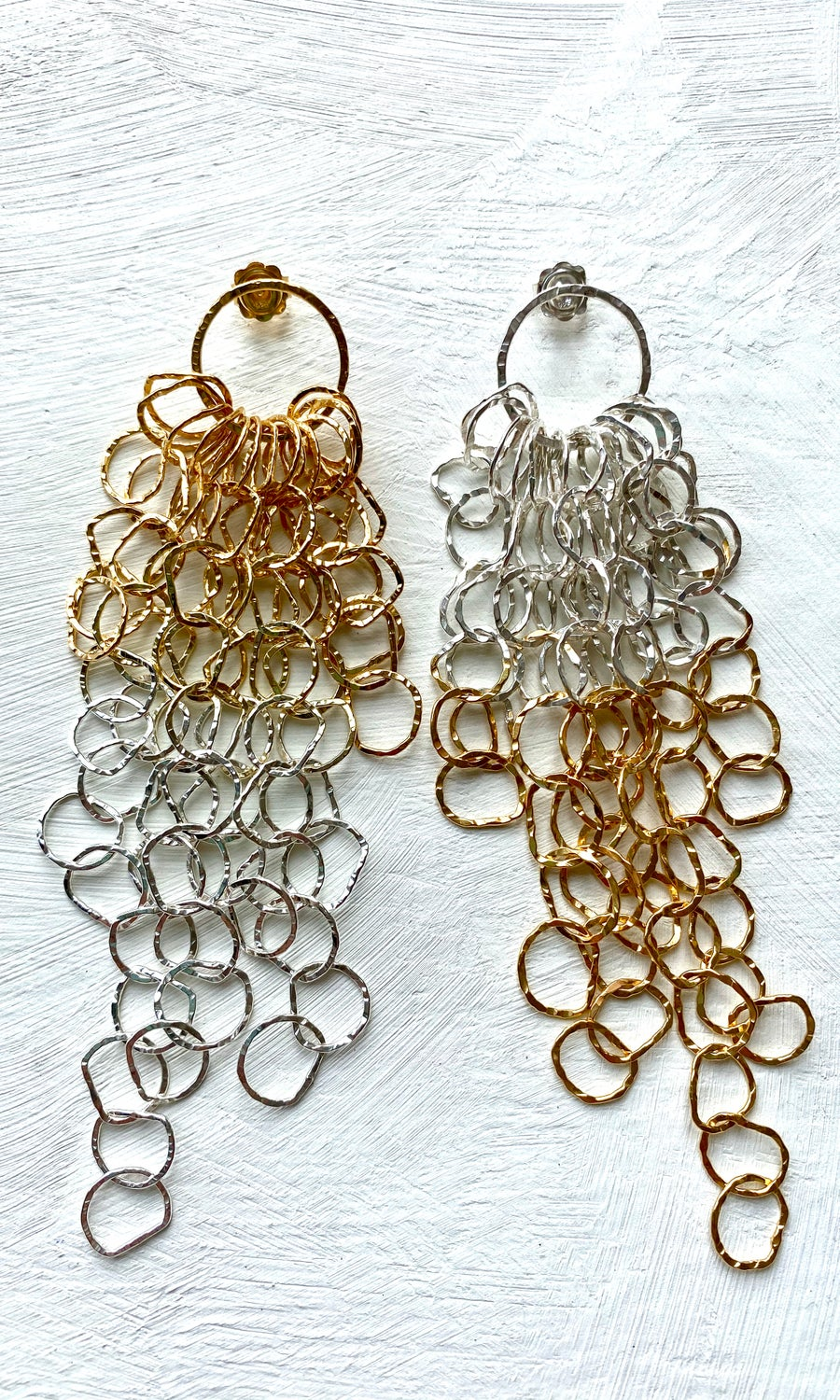 Image of Afiok large cascade earrings -sterling silver/gold vermeil