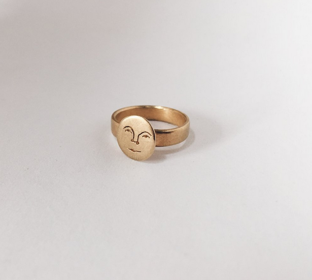 Image of small sun face ring 9 ct gold