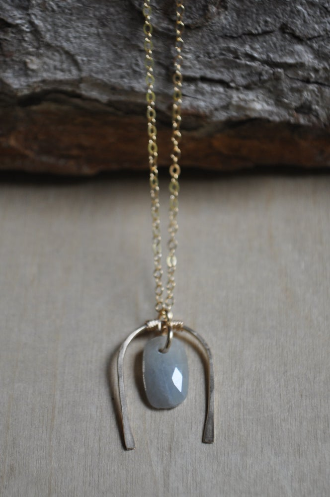 Image of The Whole World in His Hands Necklace - In Pale Blue Sapphire